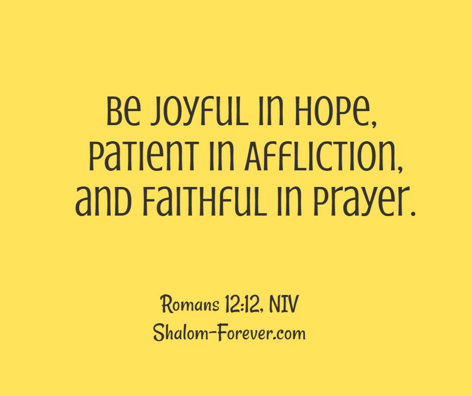 May You Be Joyful in Hope, Patient in Affliction, and Faithful in Prayer.